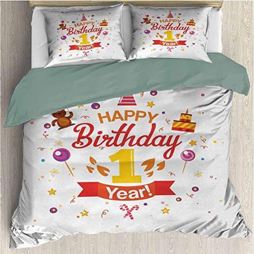 1er cumpleaños Conjuntos de Funda nórdica de Tres Piezas Fiesta de cumpleaños con Conos Caramelos de Osito de Peluche y un Estampado de Pastel Caléndula roja de 3 Piezas para Toda Temporada y púrpura