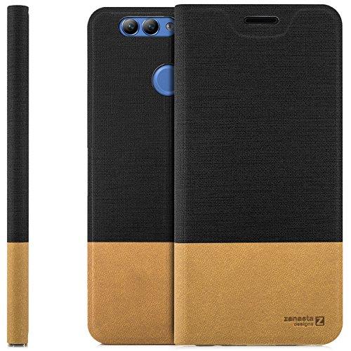 zanasta Tasche kompatibel mit Huawei Nova 2 Plus mit Kartenfach Hülle Flip Hülle Slim Schutzhülle Handytasche, Standfunktion | Schwarz