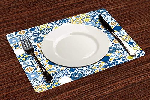 HENGLI 4er Set Platzsets 30x45cm,Gelb und Blau, Mosaik Portugiesischer Azulejo Mediterraner Arabeskeneffekt, Violetter Blauer Senf Weiß,Abwaschbar Platzdeckchen rutschfest Hitzebeständig Tischsets