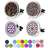 4 Packs Car Diffuser Vent Clips, 2PCS Wooden Car Essential Oil Diffuser Vent Clips and 2PCS Alloy Fragrance Diffuser Locket Clip with 20 Shiny Pads and 20 Washable Felt Pads