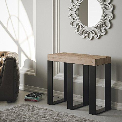 Group Design Sintesi Table console extensible, en chêne naturel, équipée d'une structure anthracite - Fabriquée en Italie - 14 personnes- 3 mètres