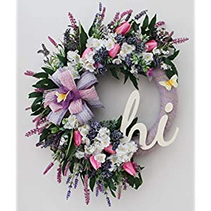 Homeduvo 339-Collyda 20 Inches Handmade Wreath, Everyday Wreath, Spring Wreath with Artificial Spring Flowers, Pink Tulips, Cherry Blossoms, Lavenders and Green Leaves with Wooden Giant Hi Sign
