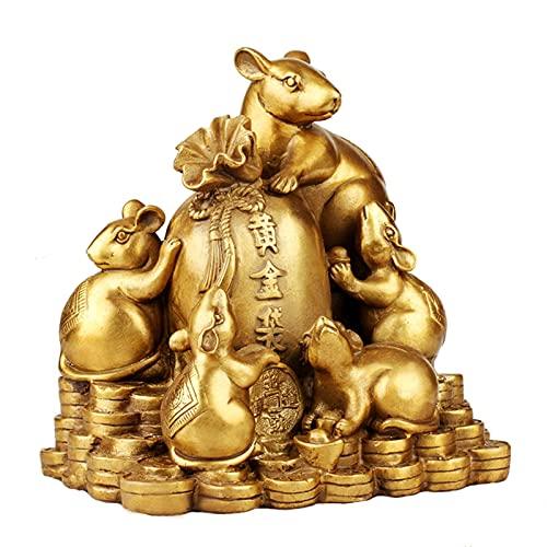 WQQLQX Statue Maus Skulptur Feng Shui Messing Maus Dekoration Fünf Ratten Vermögen Goldenes Känguru Glückliches Vermögen Sammeln Geld Zodiac Rat Skulpturen