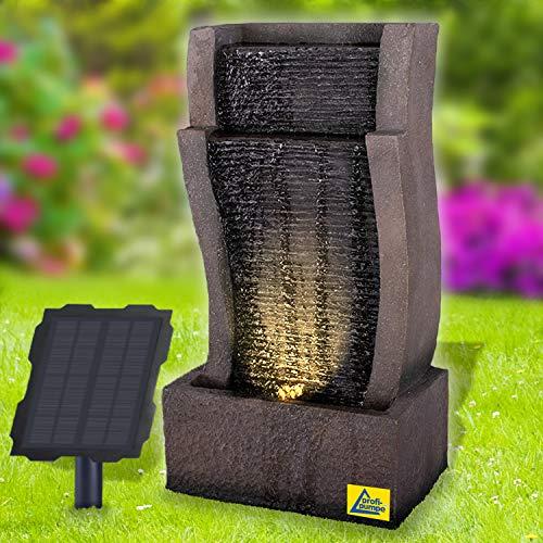 Fuente solar de jardín RHEIN-GOLD, fuente solar de jardín, cascada, color gris claro, lámpara de jardín, bomba para terraza, balcón, con bomba de arranque instantáneo con batería