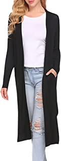 Women's Long Sleeve Open Front Drape Duster Maxi Long Cardigan with Side Slits