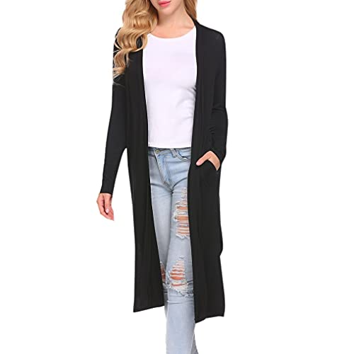 48d59fd4d560a Women s Long Sleeve Open Front Drape Duster Maxi Long Cardigan with Side  Slits