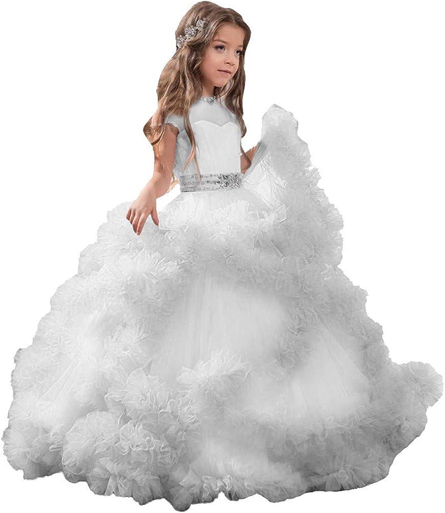 Shan-S Girls Teens Tulle Flower Dress Princess Bridesmaid Inexpensive Superlatite Weddin
