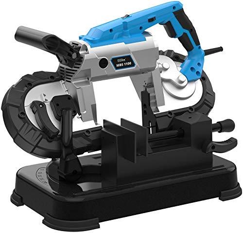 GÜDE 40553 MBS 1100 Metallbandsäge | Metallsäge | 1100 Watt Leistung | 100 mm Schnittleistung | Inkl. Arbeitstisch, LED-Arbeitslicht und Ersatzsägeband