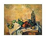 Cuadro en Lienzo Paul Cézanne《Botella de ron》Lienzos Decorativos xxl, Cuadros Decoracion Salon, Decoracion de Pared,Laminas para Cuadros (80x96cm 31 'x38', Sin marco)