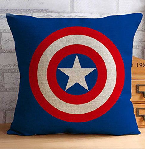 Super Heroes AVENGERS Decor Cushion Covers Pillows Hardwearing Hessian Linen Blend IRONMAN, SPIDERMAN, SUPERMAN, CAPTAIN AMERICA & BATMAN 45 X 45cm plus FREE LED TORCH KEYRING (CAPTAIN AMERICA)