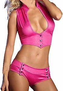 Conjunto de lencería de Charol para Mujer Pijama Bata Falda Ropa Interior Mujer Sexy Encaje erótico Escote en V de Corte bajo Atractivo riou