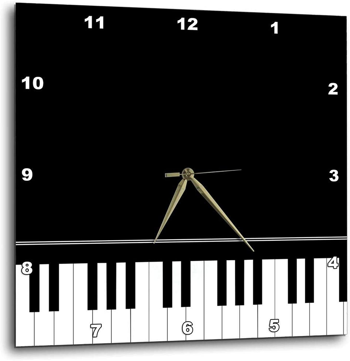 3dpink Black Piano Edge - Baby Grand Keyboard Music Design for Pianist Musical Player and Musician Gifts - Wall Clock, 10 by 10-Inch (DPP_112947_1)