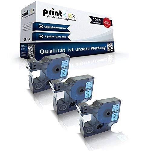 3 x compatibel met Dymo D1 45016 mobiele abels Labelpoint 100 150 200 250 300 350 Labelwriter 400Duo S0720540 12 mm 7 M Black - Blue Band - Easy Light Serie