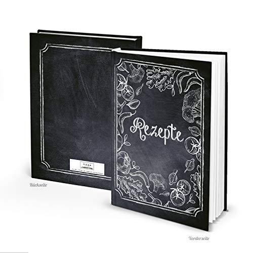 Logboek-uitgeverij receptenboek om zelf te schrijven, A4, hardcover, zwart, wit, krijt-look, groenten, recepten, kookboek, cadeauboek, leeg cadeau-idee, vegetarisch veganistisch.