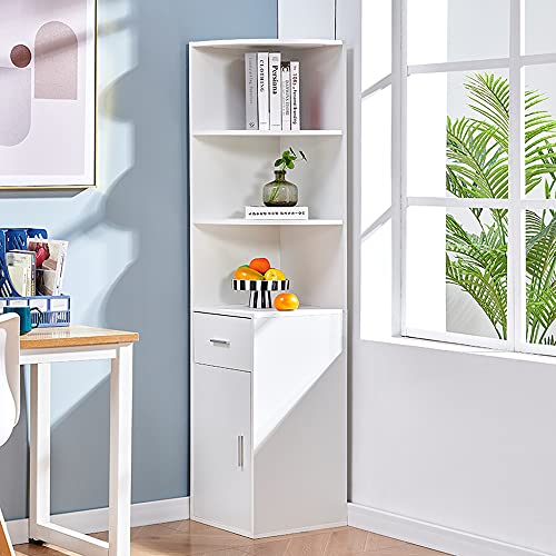 Saadiya White Tall Corner Cabinet Unit Bookcase 3-Tier Bookshelf with Drawer Bathroom Tall Cupboard Unit Storage Cabinet Floor Standing Storage and Display Rack for Bedroom, Living Room, Home Office