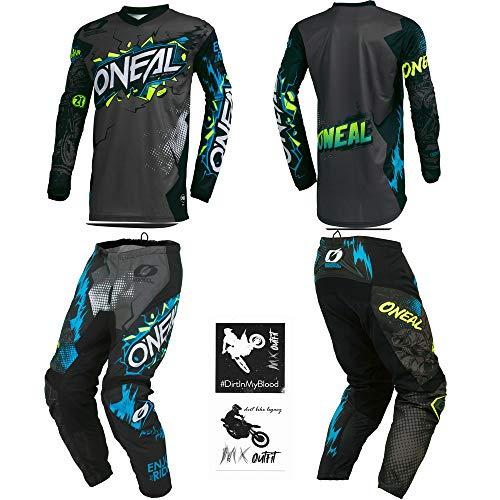 O'Neal Element Villain Gray Kids/Youth motocross MX off-road dirt bike Jersey Pants combo riding gear set (Pants 12/14 (26) / Jersey Kids Large)