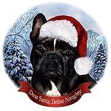 Pet Gifts USA Black and White French Bulldog Dog Santa Hat Christmas Ornament Porcelain China U.s.a. Gift