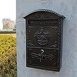 JIAMING Colgante Negro Muro de Hierro Patrón Buzón Puerta Ángel Letras de periódico buzón Textura Pesada y Llevar Lock