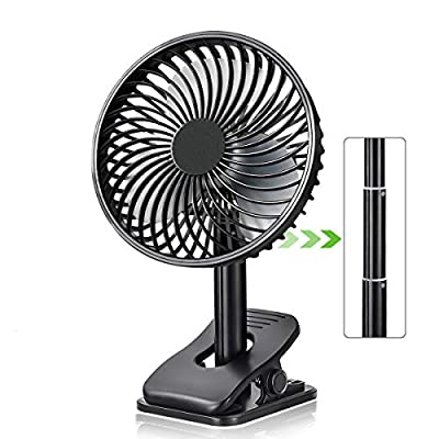 Personal Portable Small Clip Fan with 2600 mAh USB Rechargeable battery.8 inch,Black by TFS TOP · FANS