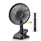Personal Portable Small Clip Fan with 2600 mAh USB Rechargeable battery.8 inch,Black