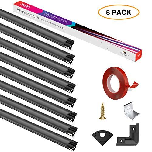 LED Aluminium Profil 1M,Led Aluminium Leisten V-Form 45°,LED-Kanäle,LED Profil Schwarz 8-Pack für LED-Streifen(1-12mm),mit 3M Klebeband,Endkappen,Metall Befestigungs Clips PEBA (8X1 m)