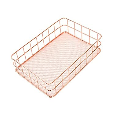 Metal Storage Basket, Wire Storage Bin Stackable Organizer for Laundry, Bathroom, Kitchen, Office, Makeup - Large, Satin (Rose Gold)