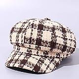 wtnhz Versión Coreana del Sombrero de Pintor Octogonal de celosía de Color Gorra de Boina Informal de Moda de Domo de Sombra