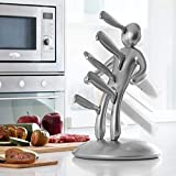 Man kitchen knife Block, LAEKER 5 Pack Stainless Steel knife sets with unique holder (silver)