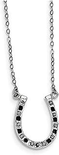 Lex & Lu Sterling Silver Diamond Mystique Black & White Diamond Necklace