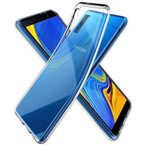 Spigen 608CS25751 Liquid Crystal für Samsung Galaxy A7 2018 Hülle Transparent TPU Silikon Handyhülle Durchsichtige Schutzhülle Flex Case - Crystal Clear