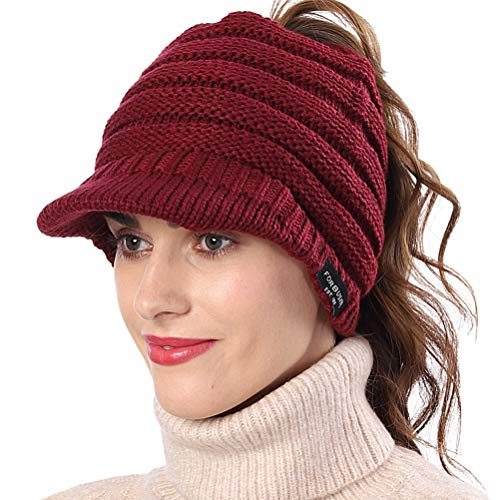 FORBUSITE Damen Wintermütze Beanie Schirm mit Loch für Haare Ausgekleidet Fleece Viosr Beanie (Burgundrot)