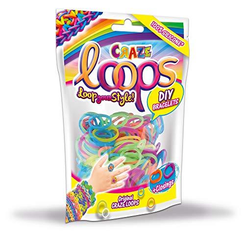 CRAZE Loops 100er Foilbag Knüpfringe Silikonringe Armband Silikon Bänder Mega US-Trend 20692, Verschiedene Farbkombinationen