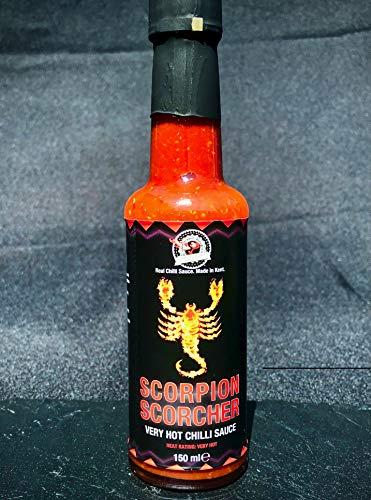 Escorpión Scorcher salsa de chiles calientes - Hecho con frescos Trinidad Scorpion Moruga...