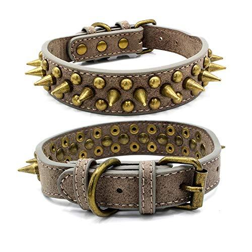 Ice con huisdier kraag, verstelbare Easy-Snap lederen hond kat halsbanden met koper Retro Cool klinknagels voor voor kleine middelgrote grote honden