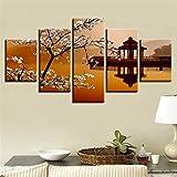 YCCYI Poster Dekor Wandkunst Modulare Leinwand Bilder 5 Stück Birnenblume und Kleiner Pavillon Retro-Landschaft Gemälde HD-Drucke 100x50cm Ungerahmt