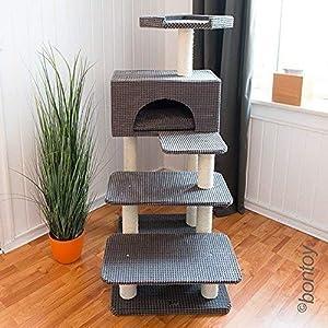 Bontoy Katzenkratzbaum Phill grau I 130cm I besonders für ältere Katzen geeignet I Stabiler Katzenkratzbaum I mit Höhle… 6