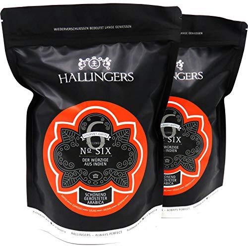 Hallingers Gourmet-Kaffee aus Indien, schonend langzeit-geröstet (1.000g) - No. Six, Set 2x 500g (Aromabeutel) - zu Passt immer