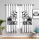 Cortina opaca para decoración de caza, diseño de cuernos y pinos, color blanco y negro