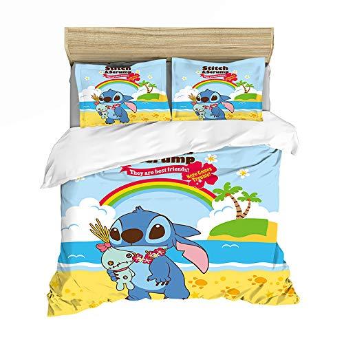 QIAOJIN Lilo and Stitch Anime Character - Juego de ropa de cama infantil, impresión digital 3D, microfibra, funda de edredón y funda de almohada con cremallera, para decoración del hogar (f,140 x 210)