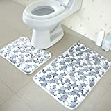 Alicer - Juego de alfombras de baño, 2 Unidades, Terciopelo Coral, Suave, Antideslizante, diseño de mármol, para baño, Ducha, Inodoro