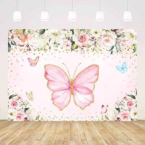 7x5ft Watercolor Pink Butterfly Baby Shower Party Photo Backdrop Girl Baby Shower Photography Backgrounds Birthday Party Cake Table Decoration Floral Fairy Princess Baby Shower Party Banner Props