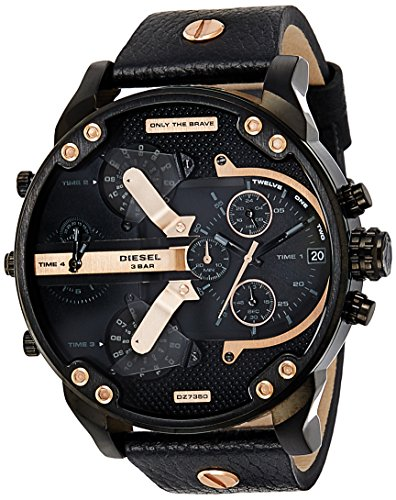 Diesel Men's DZ7350 Mr Daddy 2.0 Black Ip  Black Leather Watch