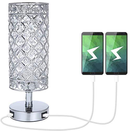 MYYYYI Crystal nachtkastje tafellamp met dubbele USB,moderne sliver licht E27 glitter lampenkap met 2 USB-poort slaapkamer nachtkastje licht voor slaapkamer, woonkamer, gastenkamer, dressoir tafel