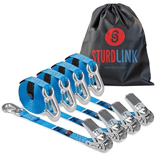 Sturdlink – Juego de 4 Correas de Amarre con trinquete 5 m con Gancho, Ancho 25 mm, 400/800daN. para sujeción, Transporte, Remolque, Moto