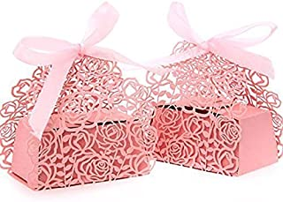 PONATIA 50pcs/Lot Laser Cut Pearl Paper Party 2 IN1 Rose Flower Wedding Favor Ribbon Candy Boxes Gift Box (Pink Rose)