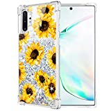 Caka Case for Galaxy Note 10 Plus Sunflower Glitter Case Floral Pattern Liquid Bling TPU Bumper Flowing Protective Sparkle Women Girl Flower Case for Samsung Galaxy Note 10+ Plus 5G (Sunflower)