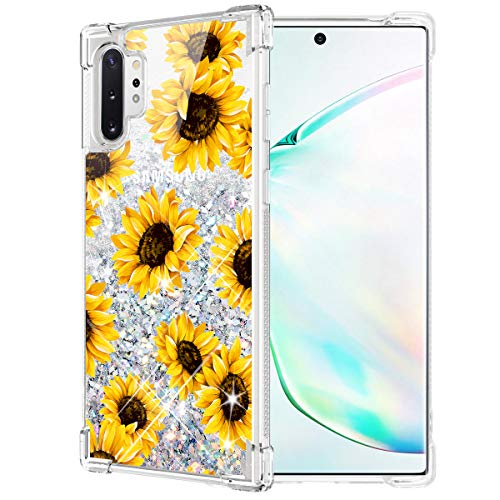 Caka Case for Galaxy Note 10 Plus Sunflower Glitter Case Floral Liquid Bling TPU Bumper Flowing Protective Sparkle Women Girl Flower Case for Samsung Galaxy Note 10+ Plus 5G (Sunflower)