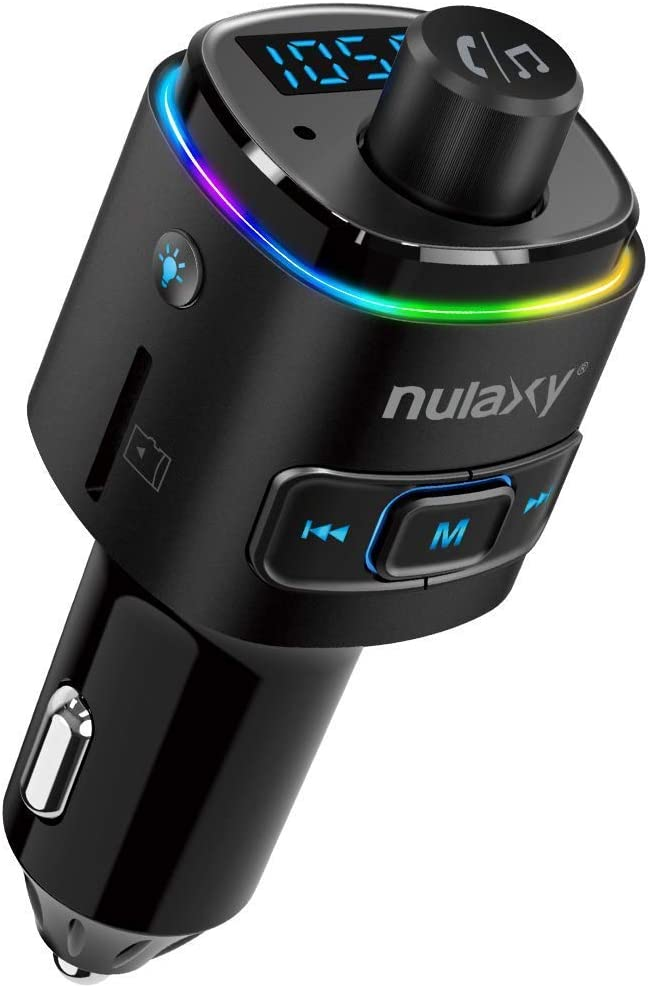 Nulaxy Bluetooth FM Transmitter for Car, 7 Color LED Backlit Bluetooth Car Adapter with QC3.0 Charging, Support Siri Google Assistant, USB Flash Drive, microSD Card, Handsfree Car Kit (B- Black)