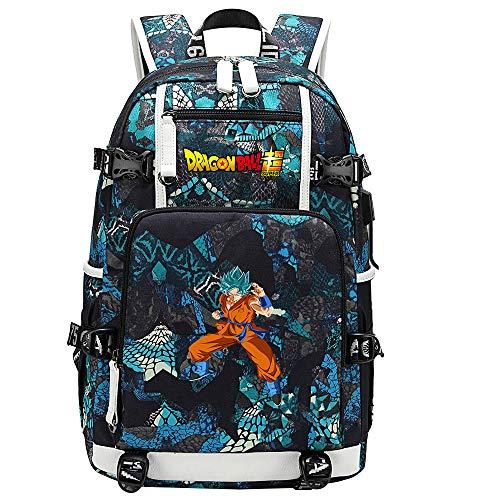 ZZGOO-LL Dragon Ball Son Goku/Vegeta IV/Torankusu Anime Cosplay Bookbag College Bag Backpack School Bag with USB Charging Port-E