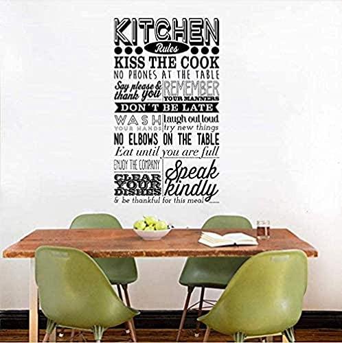 QJIAHQ Etiqueta de la pared Reglas de la cocina Calcomanías de vinilo para pared Modales en la mesa Cita Restaurante Decoración de la cocina Disfrute de las comidas Cartel 57 100Cm